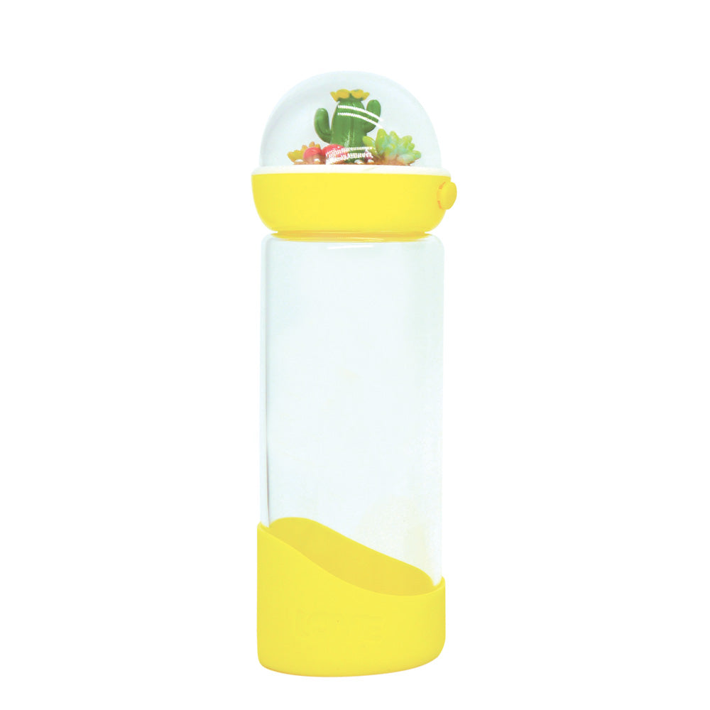 Cactus Glass Water Bottle - Yellow