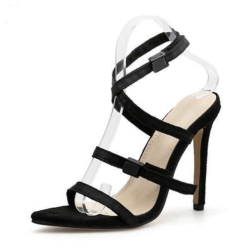 2c1ef633c502 Buckle Strap Sandals Thin heel 3 Colors - ladyfashes