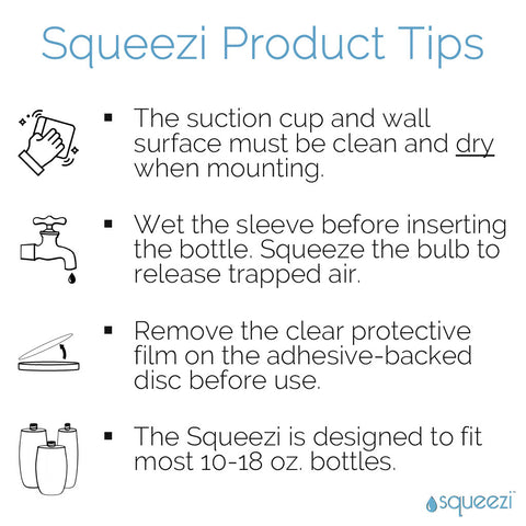 Squeezi Wall Mounted Shampoo Dispenser Product Tips