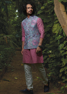 Pink Kurta Set with Marine Blue Bandhgala Jacket