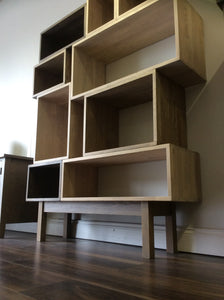 Contemporary Light Grey Solid Timber Vinyl Storage system