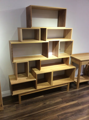 Solid Oak Walnut Vinyl Storage System