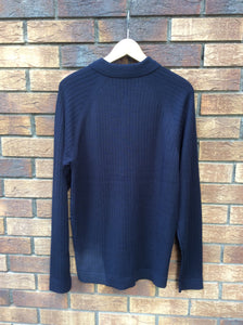 Cotton sweater with polo collar