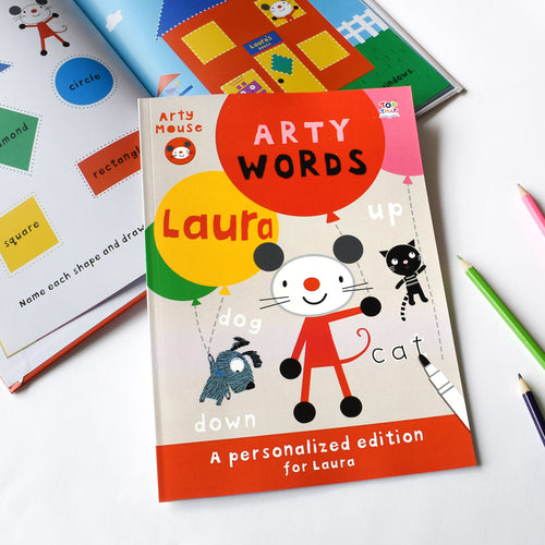 Personalized Arty Mouse Learning Words Activity Book - IsleOfGifts