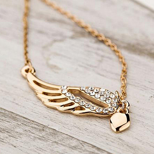 Angel Wings Love Heart Pendant Necklace - IsleOfGifts