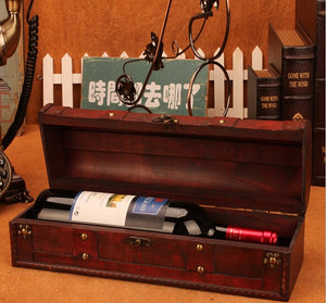 Vintage Red Wine Wooden Box - IsleOfGifts