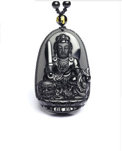 Rear Black Obsidian Buddha High Quality Pendant - IsleOfGifts
