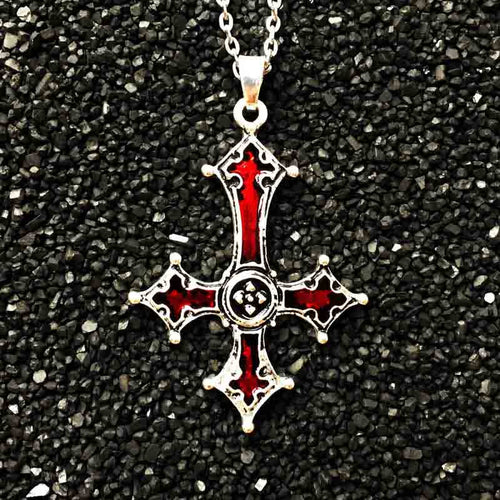 Red Bloody Inverted Cross  Necklace - IsleOfGifts