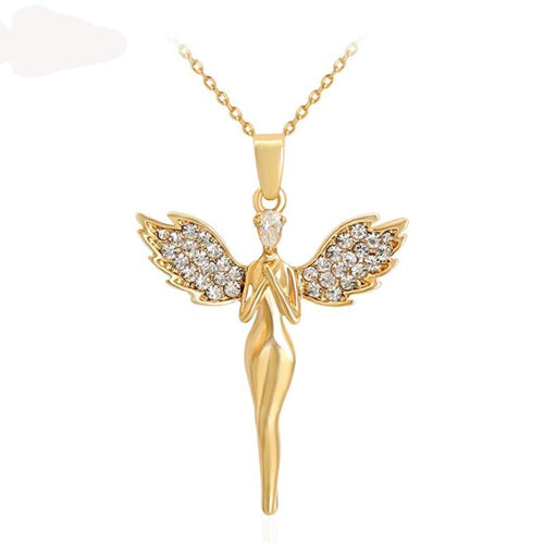 Angel Wing Cross Pendant Necklace - IsleOfGifts