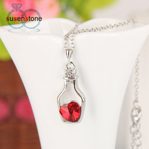 Drift Bottle Heart Crystal Pendant - IsleOfGifts