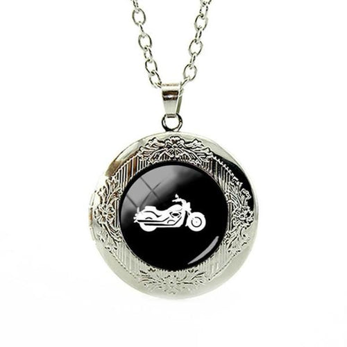 Harley motorcycle locket necklace - IsleOfGifts