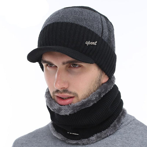 Stylish Winter Beanies Hat with Wool Scarf - IsleOfGifts