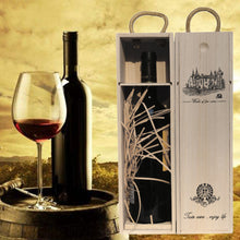 Load image into Gallery viewer, Custom-Made wooden Wine Box with Leather Tote - IsleOfGifts