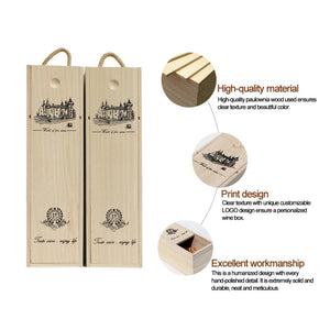 Custom-Made wooden Wine Box with Leather Tote - IsleOfGifts