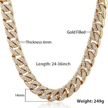 Load image into Gallery viewer, Men's Iced Out Miami Curb Cuban Gold Chain(6 mm thick/14 mm wide/60, 65, 70, 75, 90 cm long) - IsleOfGifts