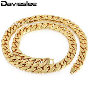 Men's Iced Out Miami Curb Cuban Gold Chain(6 mm thick/14 mm wide/60, 65, 70, 75, 85, 90 cm long) - IsleOfGifts