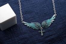 Load image into Gallery viewer, Angel Wing Cross Choker Necklace - IsleOfGifts