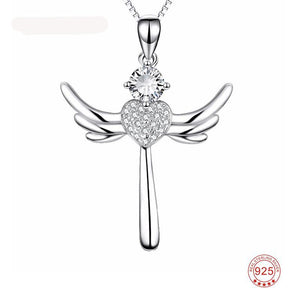 925 Sterling Silver Angel Wings Cross Pendent Necklace - IsleOfGifts