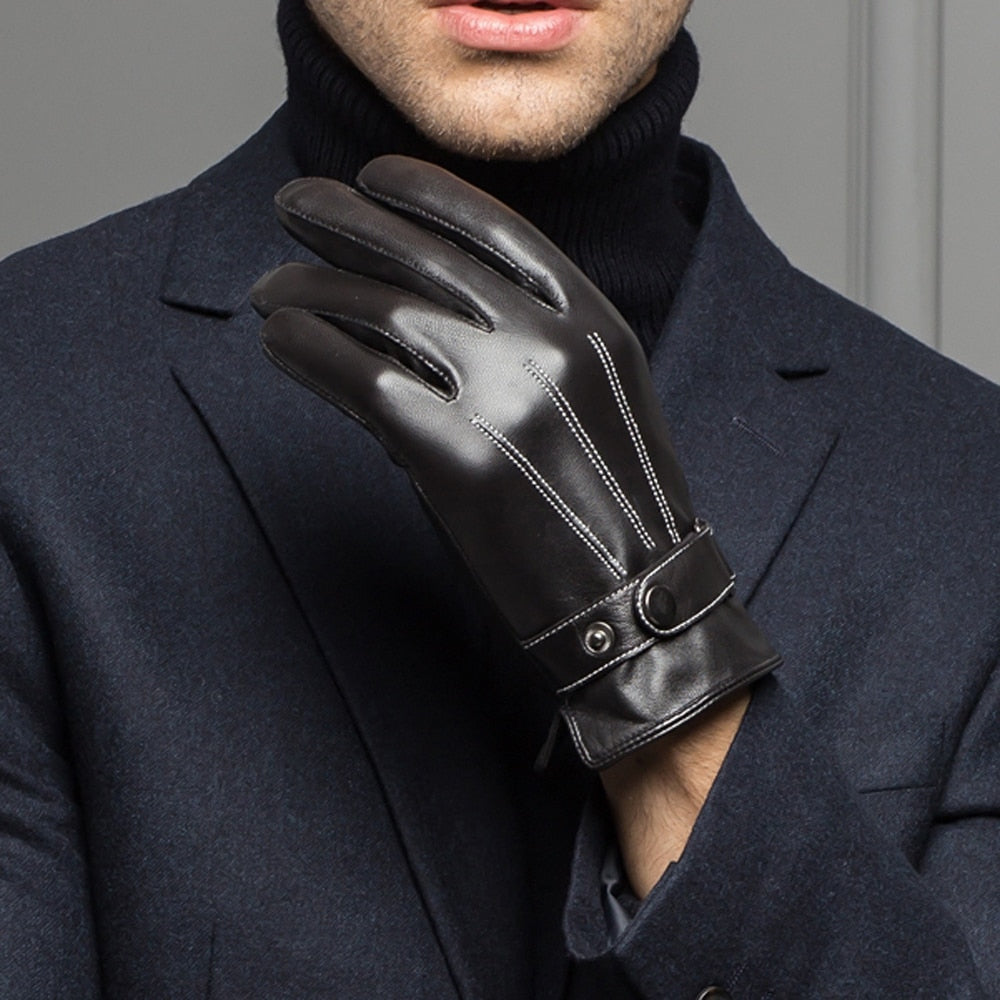 Spring/Winter Real Leather Touched Screen Glove for Man - IsleOfGifts