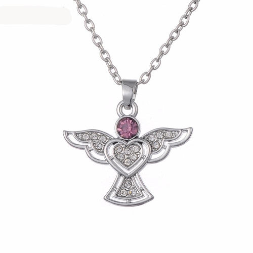 Crystal Heart Angel Wing Necklace - IsleOfGifts