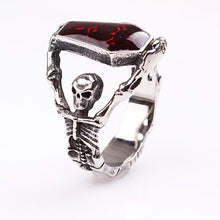 Load image into Gallery viewer, Vampire Gothic Skeleton Coffin Ring