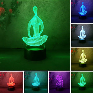 Yoga 3D LED night light with changing colors for home Decoration