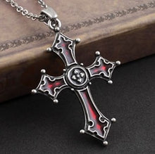 Load image into Gallery viewer, Dark Red glaze Gothic Vampire vintage Cross Pendant necklace - IsleOfGifts