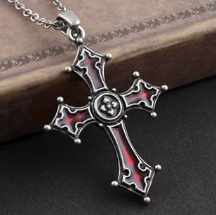 Dark Red glaze Gothic Vampire vintage Cross Pendant necklace - IsleOfGifts