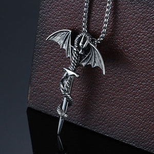 Stainless Steel Dragon Wing Cross Sword Necklace - IsleOfGifts