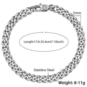 Men's Cuban Link Bracelet Polished Stainless Steel in Silver, Black & Gold - IsleOfGifts