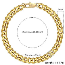 Load image into Gallery viewer, Men's Cuban Link Bracelet Polished Stainless Steel in Silver, Black & Gold - IsleOfGifts