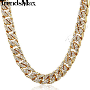 Men's Iced Out Miami Curb Cuban Gold Chain(6 mm thick/14 mm wide/60, 65, 70, 75, 90 cm long) - IsleOfGifts