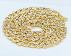 Men's Iced Out Miami Curb Cuban Gold Chain(14 mm wide/60, 65, 70, 75, 90 cm long) - IsleOfGifts