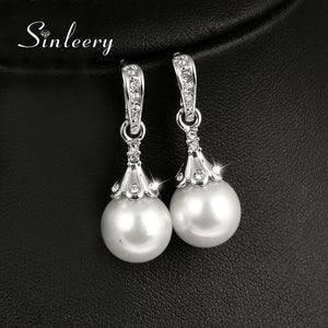 Luxury White & Gray Simulated Pearl Earrings - IsleOfGifts