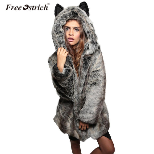 Faux Fur Coat Winter Hooded Overcoat for Women - IsleOfGifts