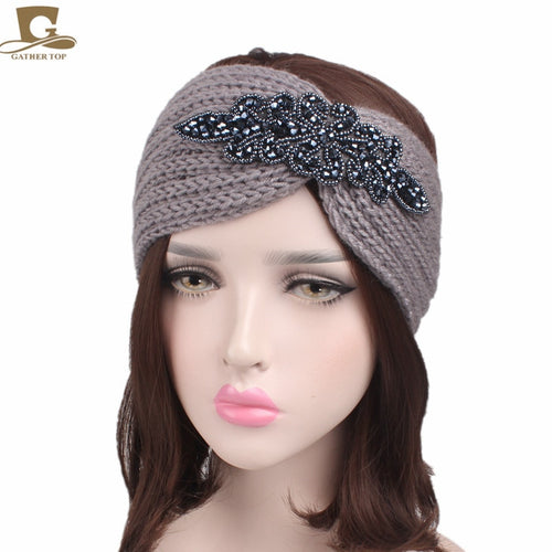 Winter New Women knitted headband Metal Jewel Accessory
