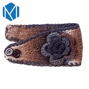 Winter Women Floral Knitted Fabric Turban Headband