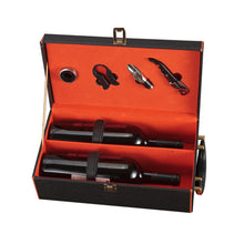 Load image into Gallery viewer, Leather Wine Set Black Box - IsleOfGifts
