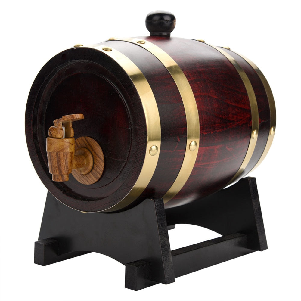 1.5L Vintage Wood Oak Timber Wine Barrel - IsleOfGifts