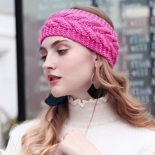 Winter Solid Wide Knitted Wool Headband - IsleOfGifts