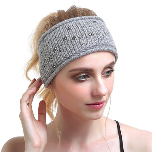 Winter Women Ear Warmer Wool Hair Bands rhinestone