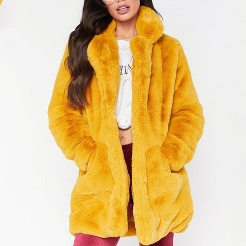 Winter Faux Fur Coat Long Sleeve for Women