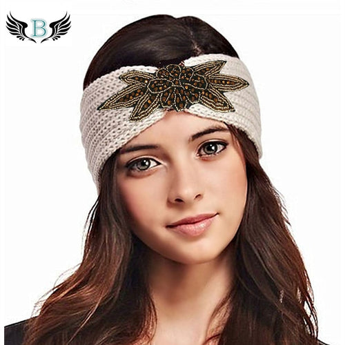 Winter Boho Shiny Knitted Wool Headband for Women