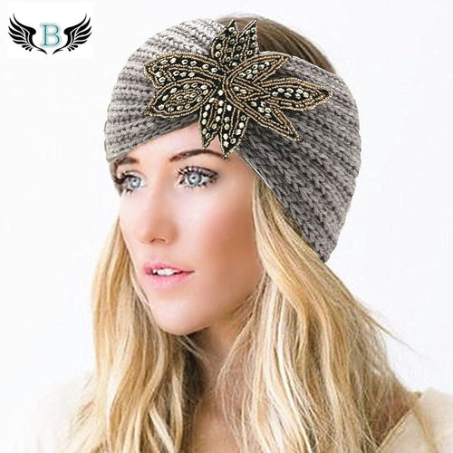 Winter Bohemian Beaded Wool Knitted Headband for Women