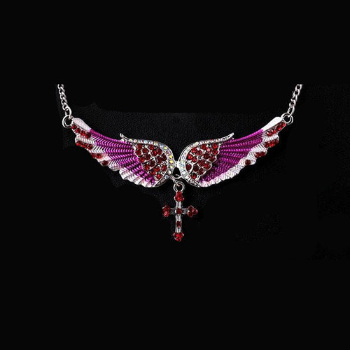 Choker Necklace with Angel Wings & Cross - IsleOfGifts
