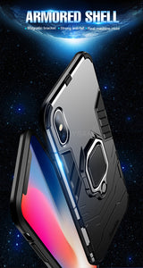 Luxury Armor Holder Ring Case For IPhone X XR XS - IsleOfGifts