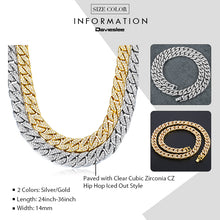 Load image into Gallery viewer, Men's Iced Out Miami Curb Cuban Gold Chain(6 mm thick/14 mm wide/60, 65, 70, 75, 85, 90 cm long) - IsleOfGifts