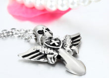 Load image into Gallery viewer, Angel Wings Cross Pendant with Skull - IsleOfGifts