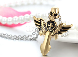 Angel Wings Cross Pendant with Skull - IsleOfGifts