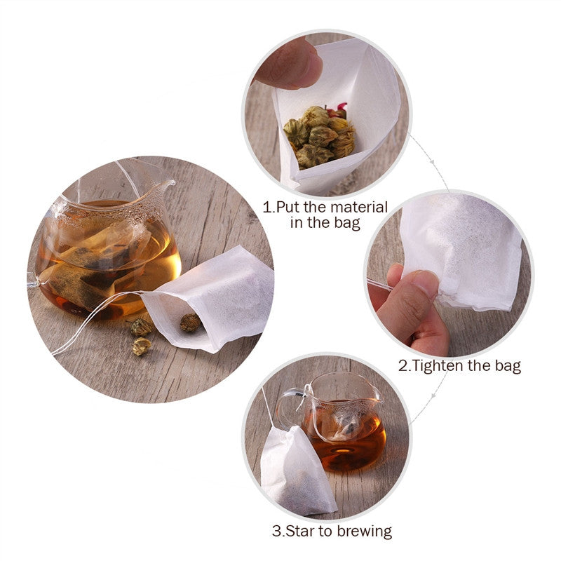 200pcs Drawstring Empty Tea Bag Filter Paper